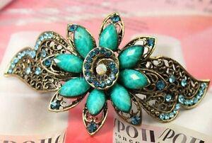 swarovski crystal flower retro bronze barrette hair clip---NEW!!