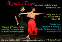 Professional Argentine Tango Workshop in Nelson, BC