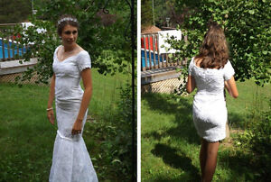 Convertible lace wedding dress - long or short size 6