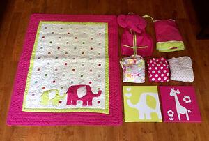 Carter's Pink Elephant Crib Bedding Set Cambridge Kitchener Area image 2