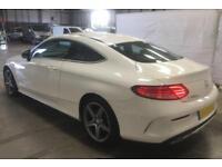 2016 WHITE MERCEDES C220 2.1 AMG LINE DIESEL AUTO COUPE CAR FINANCE FR £88 PW