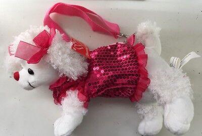 - Pink Poodle Stuffed Animal Dog Purse Bag Fuzzy Soft Plush Stuffed Animal
