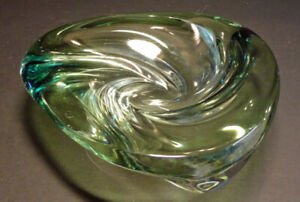 SIGNED ART GLASS Ashtray/Candy Dish Mid Century Modern Style