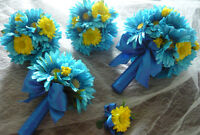 Beautiful 5 Piece Royal Blue & Yellow Wedding Bouquet Flowers.