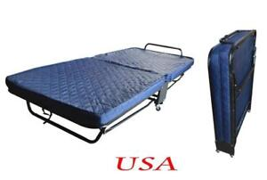 New Folding Single Bed with Cover 2 Sizes Small Steel Fram with Foam Mattress212013