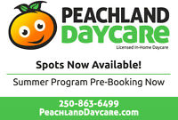 Daycare in Peachland Spots Availiable