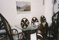 Beautiful rattan and glass dining room set incl 8 chairs