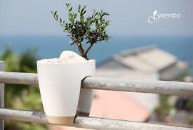 BRAND NEW GREENBO RAILING DECK PLANT HERBS FLOWER BOX IN WHITE