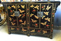 asian hand carved / painted cabinet 4 doors REDUCED PRICE