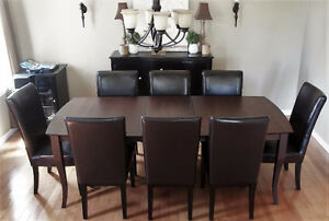 Contemporary Solid Oak Table + 8 Chairs w/Leaf - NEW PRICE !!!