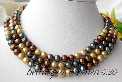 """z2787 50"""" 9mm coffee gold black round FW pearl necklace"""