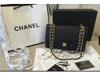 Chanel Leather Black/Gold Flap Bag High Quality