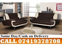"""""""""""50 % OFF SALE""""""""BLACK AND WHITE KEROL 3 AND 2 SEATER LEATHER SOFA"""