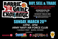 Barrie Game Exchange Sunday March 20th- 66 Vendor Tables Sold!!!