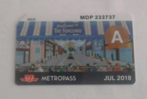 July 2018 TTC Metropass adult $135