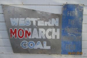 Rare Vintage Western Monarch Coal Alloy Sign For Sale