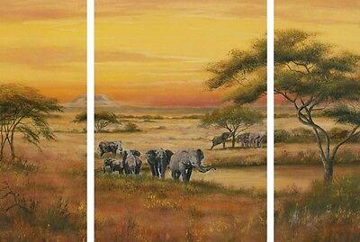 Bild Kunstdruck auf Holzfaserplatte Afrika Malerei Orange 69,5x49,5x1,2 cm A5TC