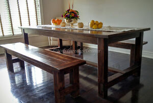 RECLAIMED RECOVERY WOOD FARMHOUSE DINING ROOM TABLE &BENCH SET