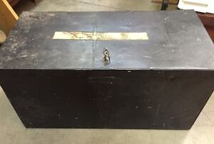 Antique Metal Tool Box with key