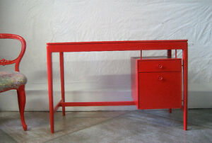 Mid-Century Red Desk North Shore Greater Vancouver Area image 4