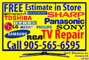 Any Issue TV repair FREE ESTIMATE, HDTV, No Power, No Picture.