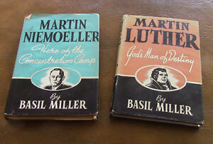 2 Books, Martin Luther, Martin Niemoeller, by Basil Miller, 1952 Kitchener / Waterloo Kitchener Area image 1