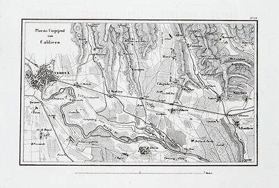 1857 Caldiero Verona Italien Dritter Koalitionskrieg Kupferstich-Landkarte
