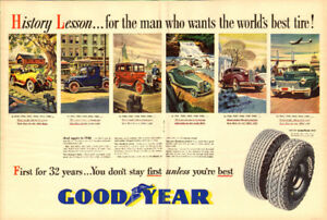 "1947 2-page magazine ad for Goodyear Tires (20"" x 14"")"