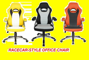 RACECAR -STYLE OFFICE CHAIR RED BLACK AND YELLOW $149.99 ONLY