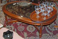 Vintage Glass top solid wood coffee table ~ WE DELIVER