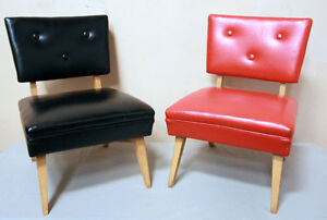 Two Mid Century Restored Low Slung Occassional Chairs  SEE VIDEO