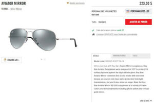 Lunettes solaire Ray Ban Aviator Mirror