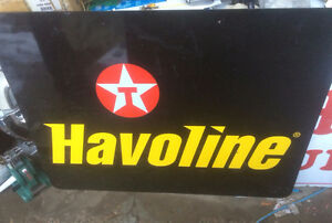 original texaco havoline oil tin advertising sign
