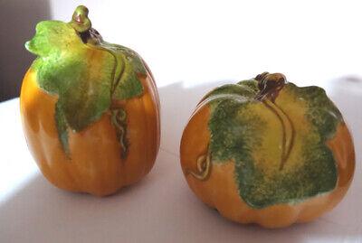 Cosmos Autumn Fall Small Ceramic Orange Pumpkin Salt & Pepper Shakers New