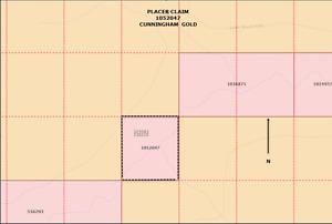 Placer gold mining claim on Cunningham Creek