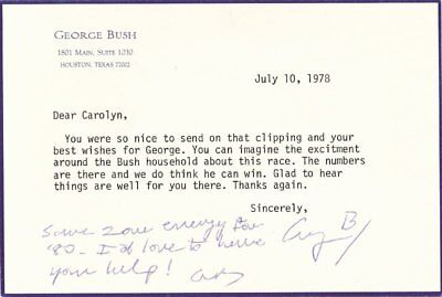 George H W  Bush   Typed Letter Signed 07 10 1978