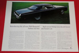 COOL 1969 IMPERIAL LE BARON HARDTOP SEDAN CHRYSLER AD - ANONCE