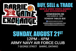 Barrie Game Exchange SUNDAY AUGUST 21st over 115 Tables Sold!