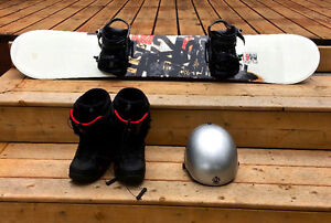 K2 Snowboard, Bindings, Boots, and a helmet