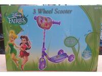 Disney Fairies 3 Wheel Scooter With Anti Slip Footplate ,Adjustable Handles NEW & BOXED