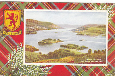 VINTAGE POSTCARD WITH VIEWS KYLES OF BUTE FROM ABOVE CALADH CASTLE POSTED 1950.