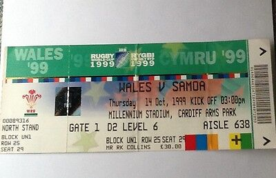 1999 RUGBY WORLD CUP GROUP STAGE TICKET - Wales v Samoa