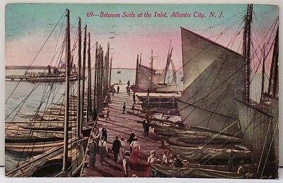 Atlantic City NJ., Between Sails at the Inlet, 1913 to Elkton Md Postcard F3