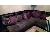 Large Corner Sofa + Tub Chair + 3 Tier Footstools
