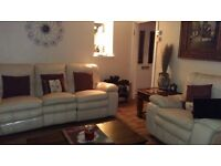 GOOD CONDITION CREAM REAL LEATHER SOFA AND CHAIR