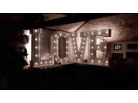 LOVE LETTERS, POSTBOXES, LED SIGNS, SWEETIE CARTS & FERRIS WHEELS, STARLIGHT BACKDROPS & MORE