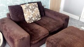 Dark brown 3 seater, 2 seater fabric sofa and footstool