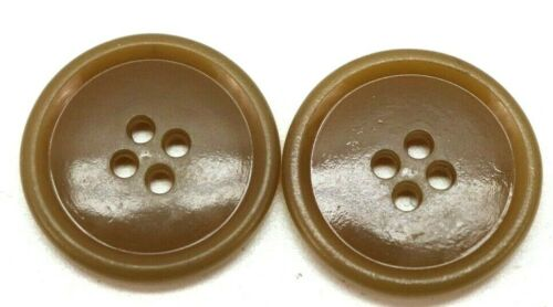 "WWII opaque Carmel tan Mackinaw Coat Buttons 1 1/8"" lot of 2 B531"