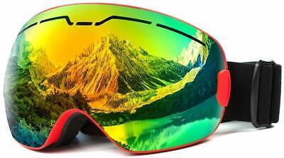 Ski Snowboard Goggles AntiFog OTG Snow Goggles Detachable Lens Helmet Compatible