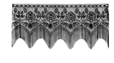 Lace Window Valance  Halloween Black Gala design 60 W x 22 L